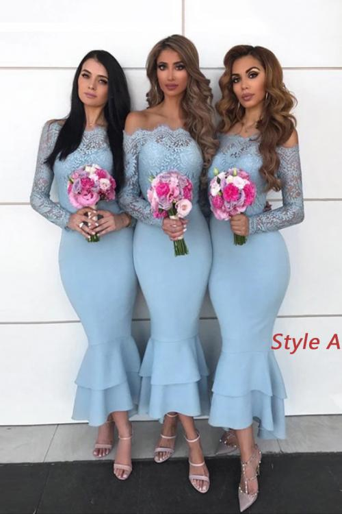Trumpet/Mermaid Off-the-shoulder Lace Ruffles Asymmetrical Long Satin Bridesmaid Dresses (with 2 Styles A/B)