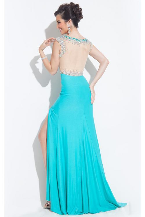 Illusion Bateau Neck Sheath High Split Long Jersey Prom Dress with Beading