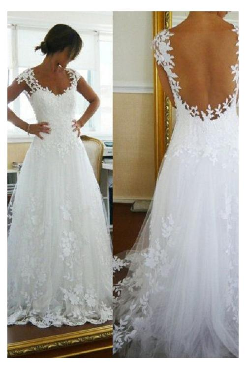Scoop Neck Cap Sleeve Lace Top A-line Long Tulle Wedding Dress