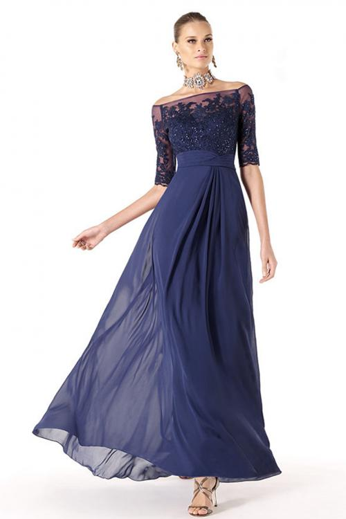 Charming A-line Off-the-shoulder Half Sleeve Beading Lace Ruching Floor-length Chiffon Mother of the Bride Dress