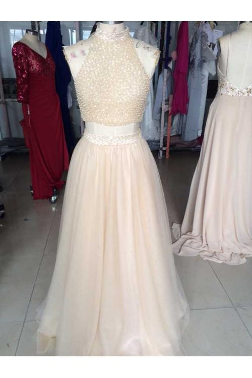 Two Piece High Neck Sparkling Long Blush Tulle Beaded Prom Dress