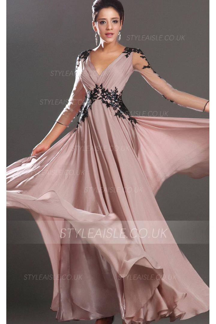 Balck Lace Appliqued V Neck Empire Pleated Long Column Chiffon Prom Dress with 3/4 Sleeves