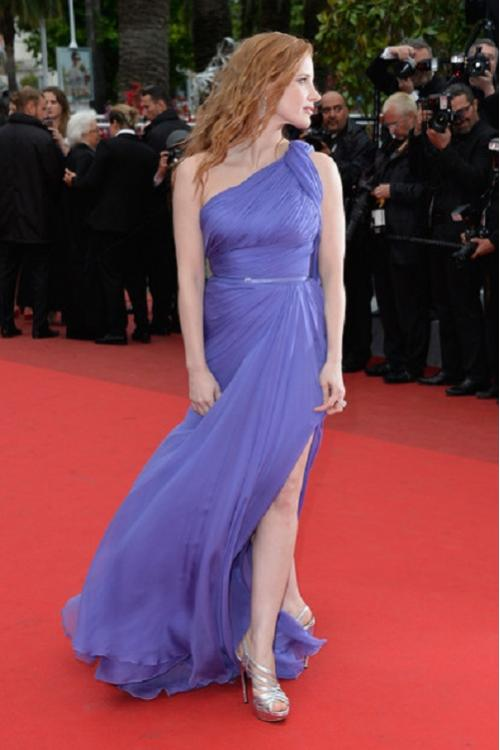 France Cannes Foxcatcher Red Carpet Sleeveless One Shoulder Long Chiffon Beach Style Prom Dress