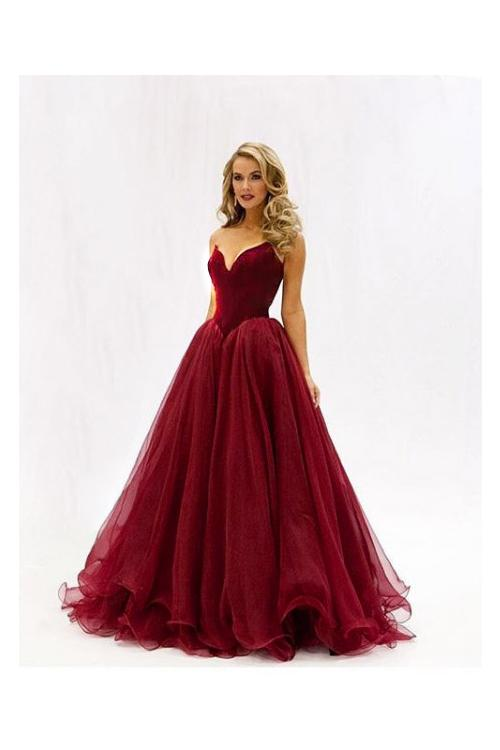 A-line Princess Strapless V-neck Floor-length Long Prom Dress