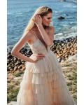 A-line Spaghetti Straps V-neck Sleeveless Ruching Top & Pleated Ruffles Sweep/Brush Train Long Tulle Prom Dresses