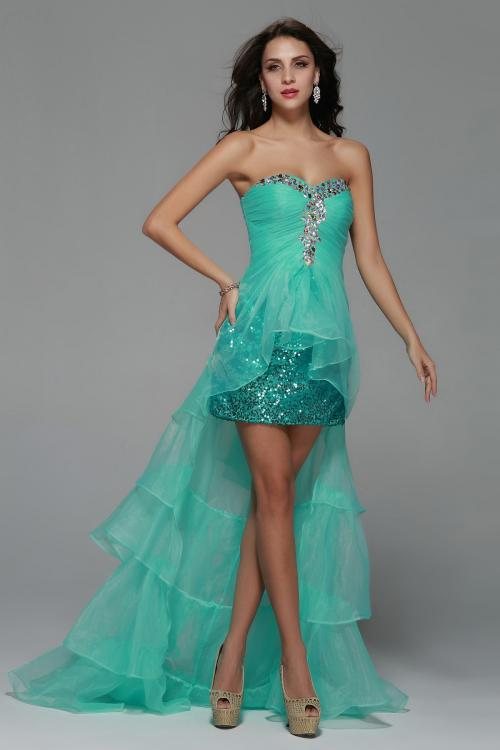 High Low Beading A-line Tulle Prom Dress