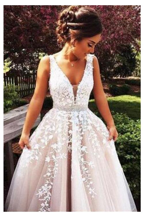 Vintage Long A-line Lace Appliques Tulle Prom Dress with Beading Belt