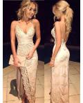 Side Split Spaghetti Straps Long Sheath Floral Lace overlay Chiffon Beach Prom Dress