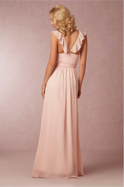 Ruffled V Neck Blush LOng Chiffon Cascaeded Ruffled Front Bridesmaid Dress