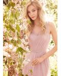 Pink Illusion V Neck A-line Tulle Long Bridesmaid Dress