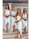 Asymmetrical/High Low One Shoulder Sleeveless Ruching & Split Long Charmeuse Bridesmaid Dresses