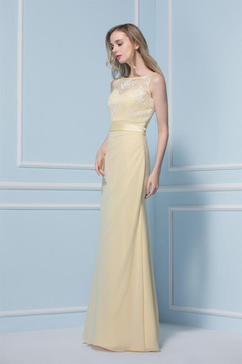 Sleeveless illusion Bateau Neck Lace Bodice Long Sheath Daffodil Chiffon Bridesmaid Dress
