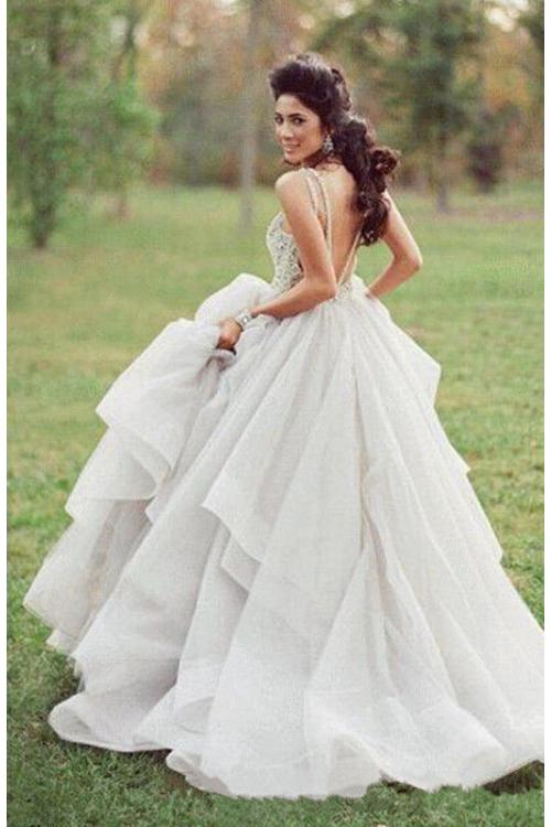 Ivory Lace Bodice Bateau Neck Ball Gown Cascaded Ruffled Organza Wedding Dress