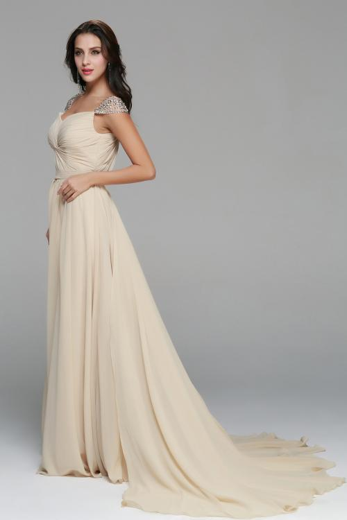 Beading A-line Long Champagne Chiffon Junior Prom Dress