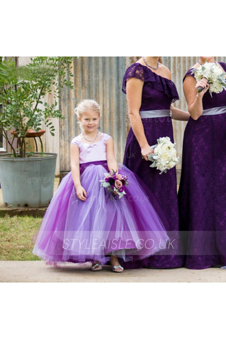 Ball Gown Two Tone Satin and Tulle Flower Girl Dress with Sash