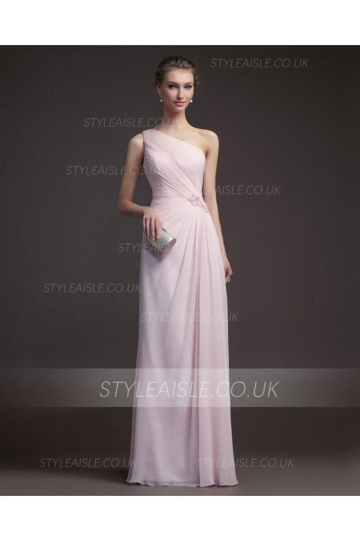 Charming Sheath/Column One Shoulder Beading Floor-length Chiffon Prom Dresses