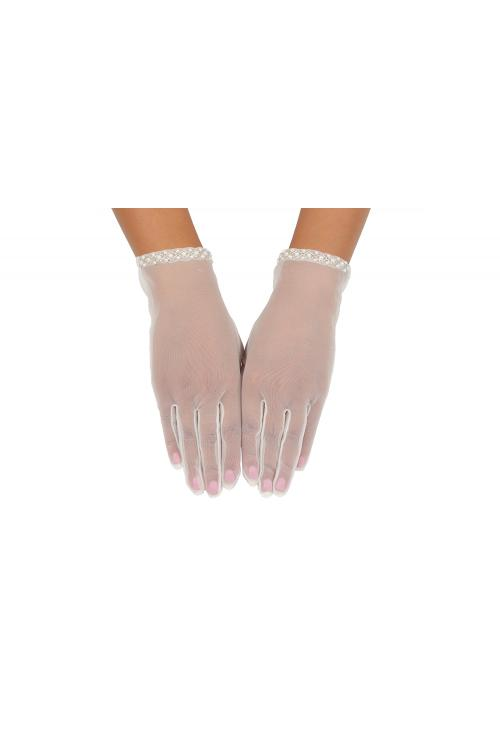 Tulle Ivory Pearl Flower Embroider Butterfly Knot Short Lace Girl Gloves 2BL