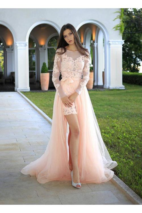 A-line Bateau Long Sleeve Appliques Lace Hand Made Flowers Floor-length Long Detachable Tulle Evening Dresses