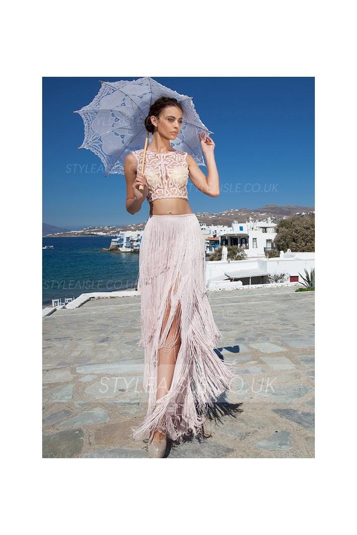 Two Piece Bateau Neck Sequin Sheath Tassel Chiffon Split Prom Dress