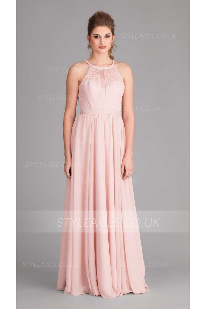 Chic Halter Neck Pleated Long Pearl Pink Chiffon Bridesmaid Dress with Sash
