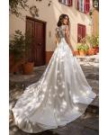 Chic & Modern A-line V-neck Bow Sashes Sleeveless Buttons Chapel Train Long Satin Wedding Dresses with Lace Back