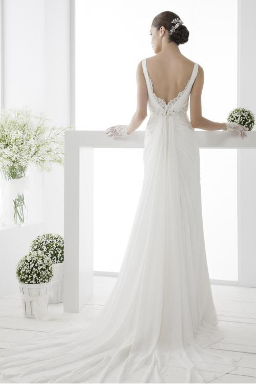Simple Sheath/Column Straps V-neck Beading&Crystal Lace Ruching Sweep/Brush Train Chiffon Wedding Dresses