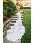 Sexy Backless V Neck Lace Patterns Long Fit Flared White Tulle Wedding Dress
