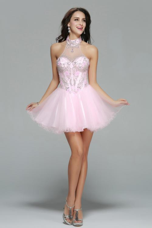Sparkling Beaded Sleeveless High Neck Blushing Pink Tulle Short Prom Dress