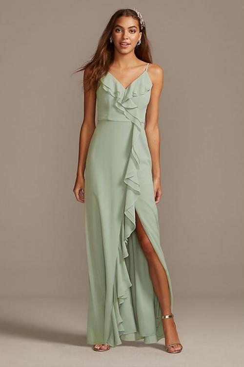 Sheath/Column Spaghetti Straps V-neck Sleeveless Ruffles Split Floor-length Long Chiffon Bridesmaid Dresses