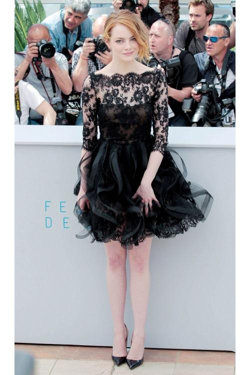 A-line Bateau 3/4 Sleeves Short/Mini Lace Tulle Prom Dresses
