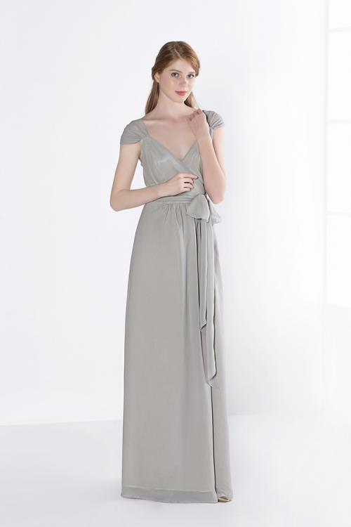 Floor-length Sleeveless Zipper Silver Chiffon Cap Sleeve Bridesmaid Dresses