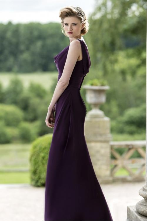 Cowl Neck Sheath Long Chiffon Bridesmaid Dress with Buttons