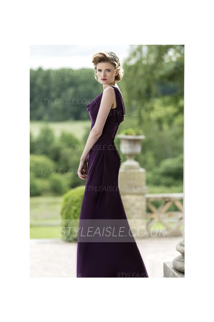 Cowl Neck Sheatth Long Chiffon Bridesmaid Dress with Buttons