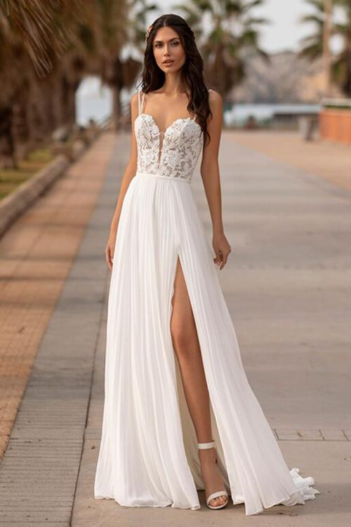 A-line Double Spaghetti Straps Sleeveless Lace Appliques Bodice Sweep/Brush Train Long Wedding Dresses with Pleated Chiffon Skirt