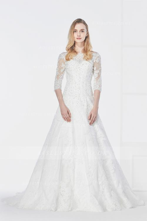 Vintage Sequins Inspired A-line Lace overlay Tulle Ivory Wedding Dress with 3/4 Long Sleeves