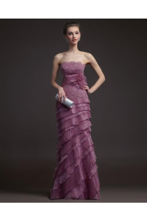 Charming Sheath/Column Strapless Beading&Sequins Lace Cascading Ruffles Floor-length Organza Prom Dresses