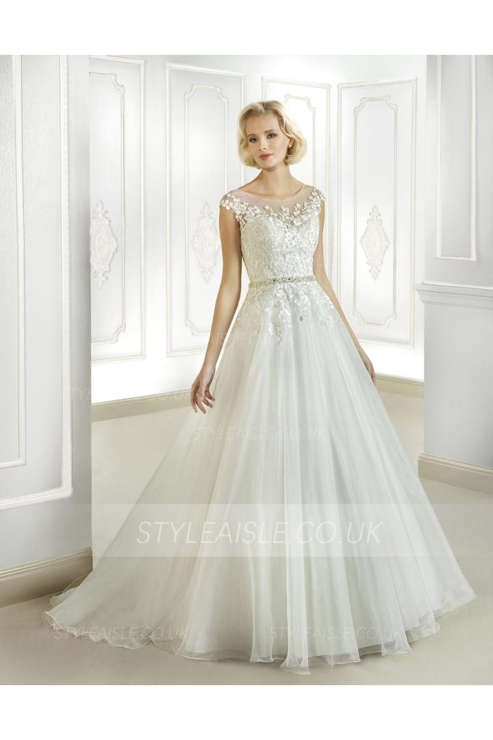 Simple A-line Illusion Bateau Neck Beading&Pearl Lace Sweep/Brush Train Organza Wedding Dresses
