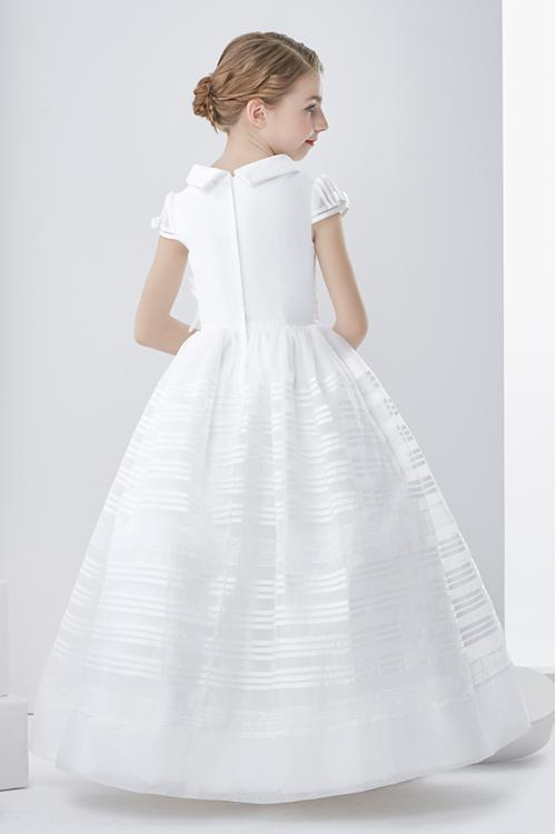 Short Sleeve Scoop Neck A-line White Organza First Communion Dress