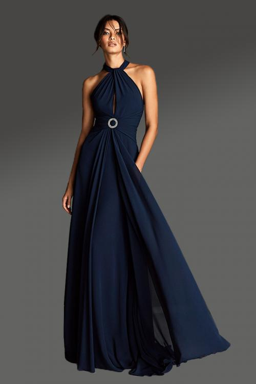 A-line Halter Neckline Sleeveless Ruching Empire Waist Sweep/Brush Train Long Chiffon Cocktail Dresses