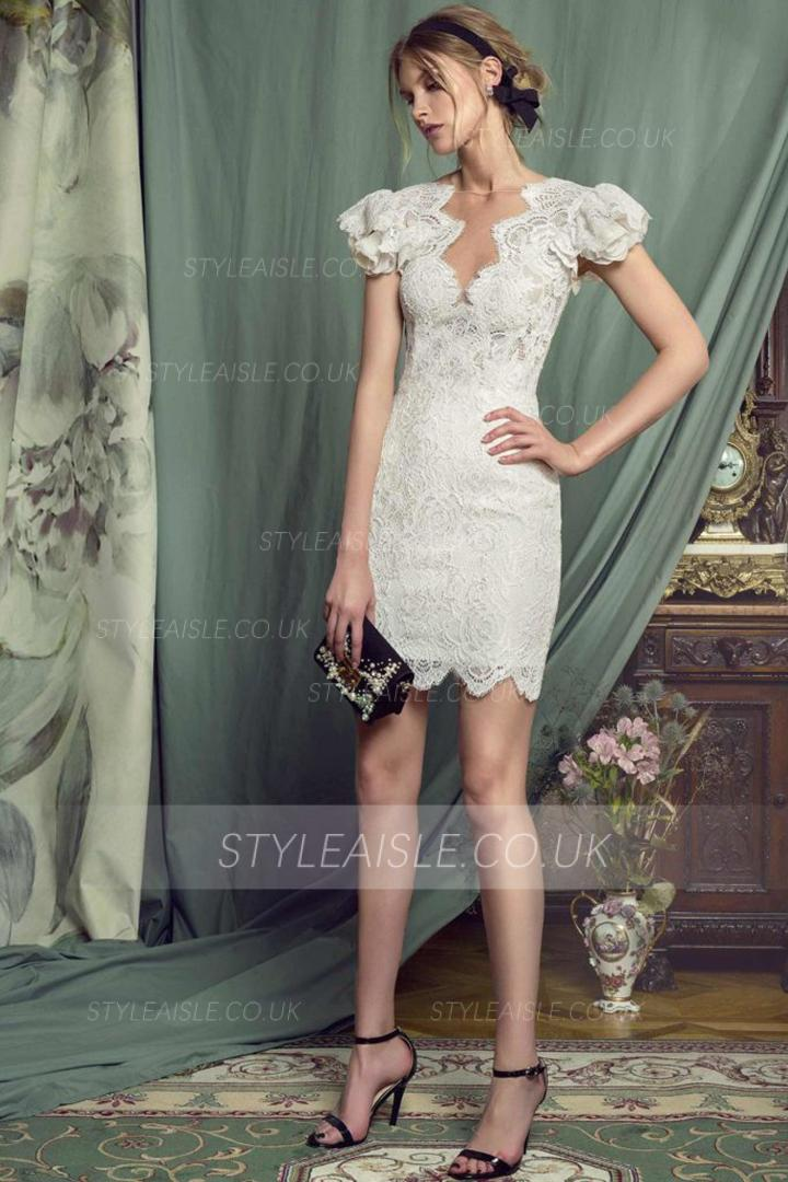 Sheath/Column Jewel Neckline Cap Sleeves Laces Hand Made Flowers Short/Mini Short Evening Dress