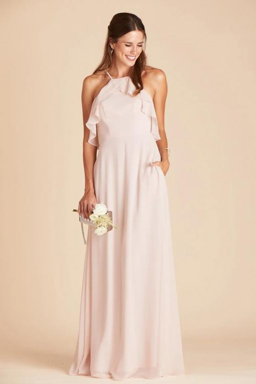 A-line Spaghetti Straps Sleeveless Ruffles Top Floor-length Long Chiffon Bridesmaid Dress with Pockets
