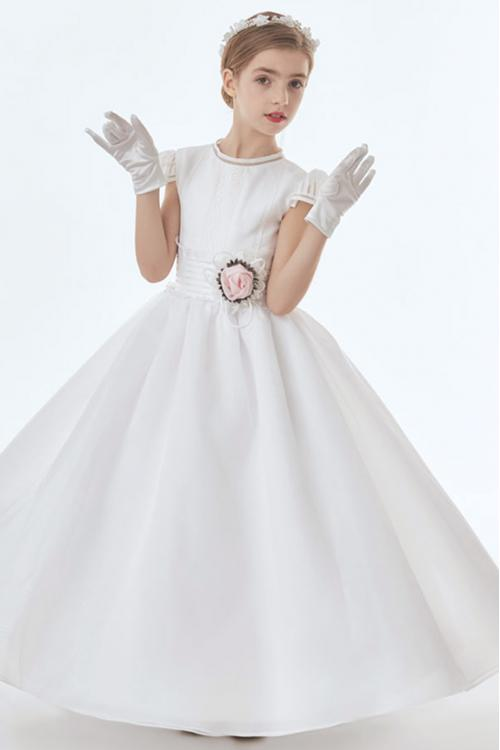 Jewel Neck Short Sleeve A-line Organza Long First Communion Dress with Flower