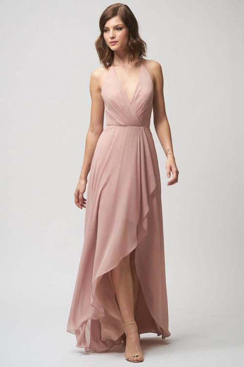 High Low Sleeveless V Neck A-line Dusty Bridesmaid Dress Beach Wedding