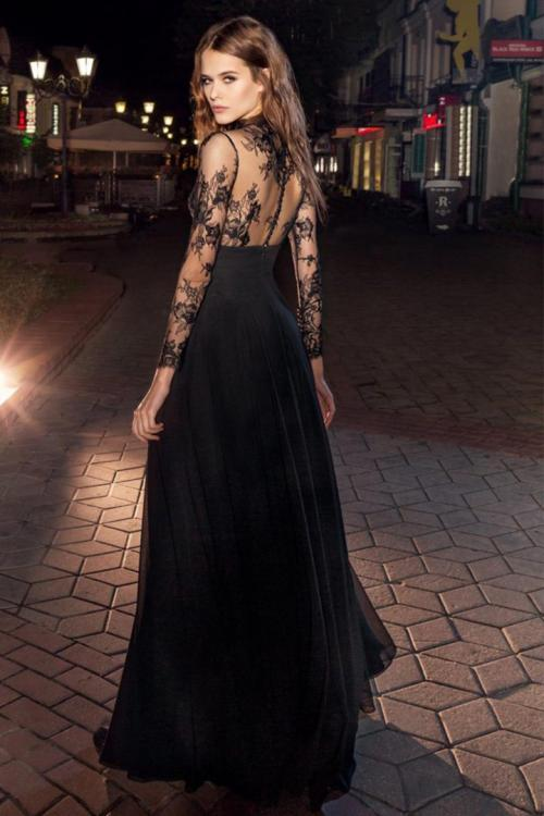 A-line High Neck Long Sleeves Buttons Floor-length Long Lace Prom Dresses