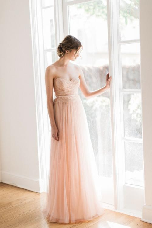 Strapless Sweetheart Pleated Lace Top Blush Tulle Bridesmaid Dress with Ribbon