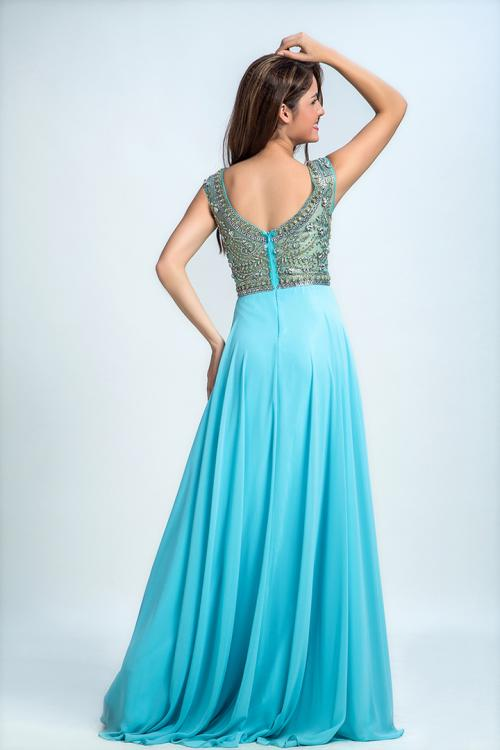 A-line Scoop Neck Sleeveless Beading Floor length Long Chiffon Design Prom Dress
