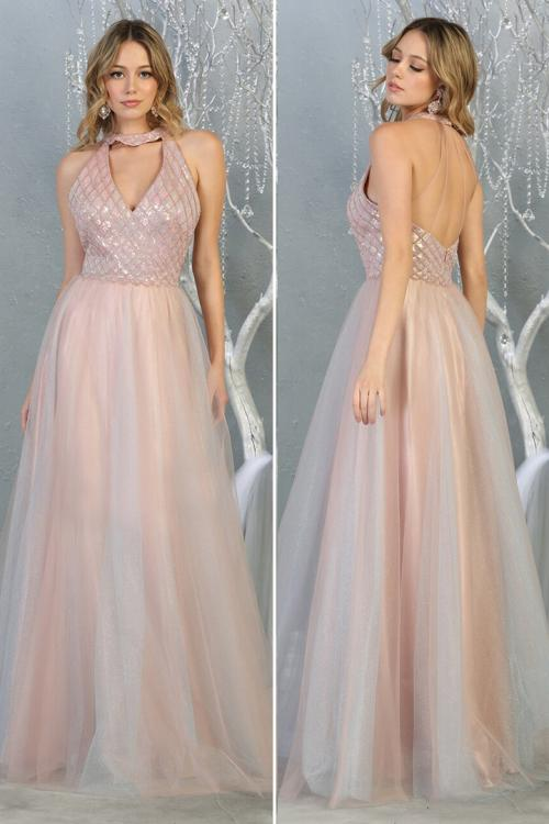 Chic A-line Halter&V-neck Beading Sequins Floor-length Long Tulle Prom Dress