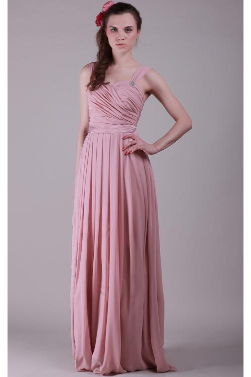 Chiffon Lace-up Sleeveless Natural Floor-length Bridesmaid Dresses