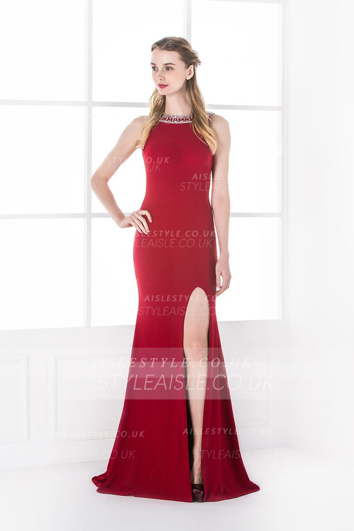 Tight/Bodyhuge Jewel Sleeveless Beading Pleated Long Prom Dress