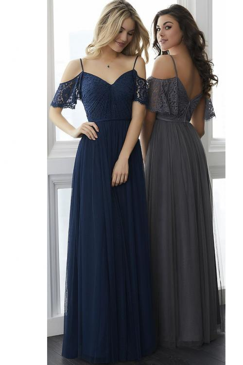 Navy Blue Off Shoulder A-line Lace Vintage Bridesmaid Dress